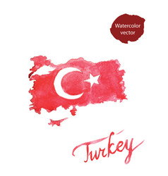 watercolor red turkish flag and map vector image vector image