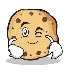 wink face sweet cookies character cartoon vector image