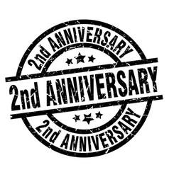 2nd anniversary round grunge black stamp vector image