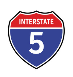 5 route sign icon road highway vector