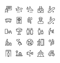 airport icons in thin line style symbols vector image