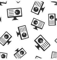 analytic monitor icon seamless pattern background vector image