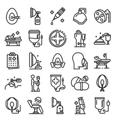 anesthesia icons set outline style vector image