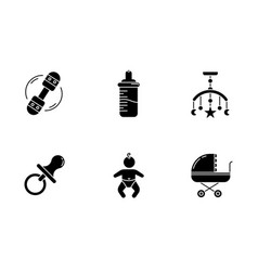 baby care service black glyph icons set on white vector image