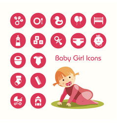 Baby girl crawling and icons set vector