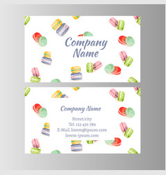 Bakery shop sweet macaroons cards vector