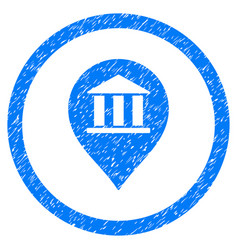 Bank building pointer rounded grainy icon vector
