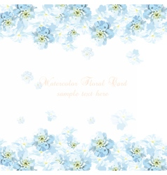 Beautiful Watercolor Blue flowers card background vector image