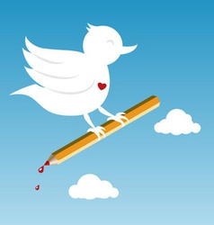 Bird with pencil vector
