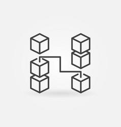 blockchain outline icon block chain symbol vector image
