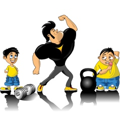 Bodybuilder and kids vector