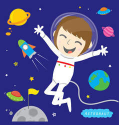 Boy astronaut spaceman cute cartoon design vector