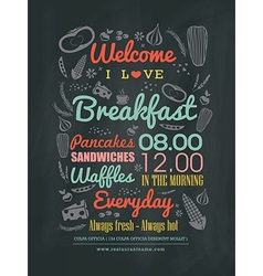 Breakfast cafe Menu typography on chalk board vector image