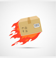 Burning cardboard box is flying vector