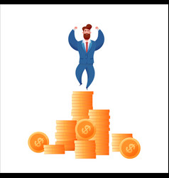 business man in suit at golden coins vector image