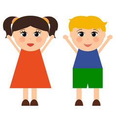 cartoon boy and girl vector image