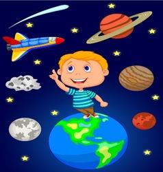 Cartoon boy looking at the sky vector