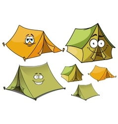 Cartoon green and yellow tents characters vector image