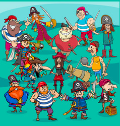 Cartoon pirate characters group vector