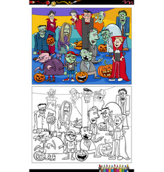 cartoon scary halloween characters group coloring vector image