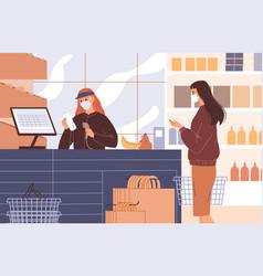 cashier at cash register scans customer s vector image