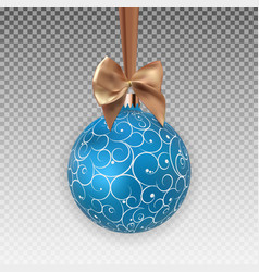 christmas ball with ball and ribbon on transparent vector image