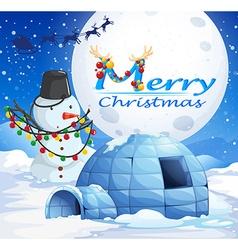 Christmas theme with snowman and igloo vector