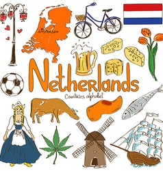 Collection netherlands icons vector