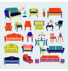 Collection of icons set Interior design vector image