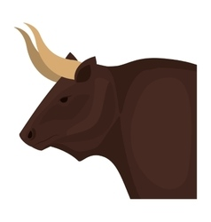 Color image head of bull with horns vector