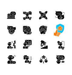 communication skills black glyph icons set vector image