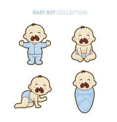 cute baby boy set vector image