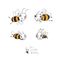 Cute cartoon bees vector