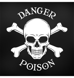 Danger skull on black background Jolly vector