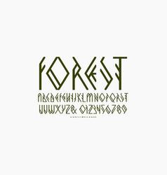 Decorative geometric sans serif font vector