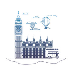 Degraded line london clock tower with air balloon vector