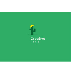 Development of creative logo funny cactus in vector