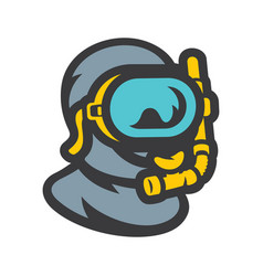 diver in underwater mask sign vector image