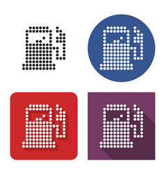 dotted icon fuel station in four variants with vector image
