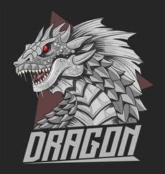 dragon head silver colour vector image