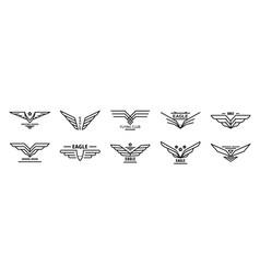 Eagle logo set outline style vector