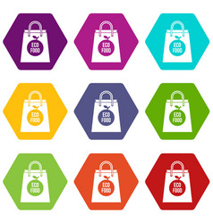 eco food bag icon set color hexahedron vector image