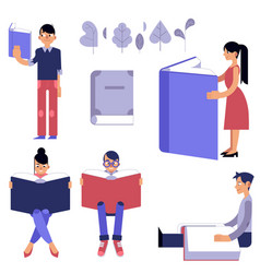 education process set - male and female flat vector image