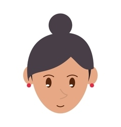 Face cartoon girl red rings vector