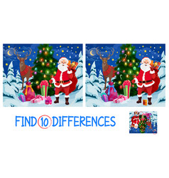 find ten differences christmas game for kids vector image