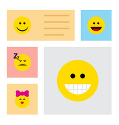 Flat icon face set of caress grin asleep and vector