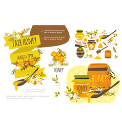Flat organic honey colorful concept vector