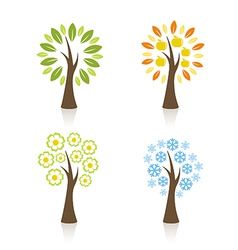 Four season trees vector image vector image