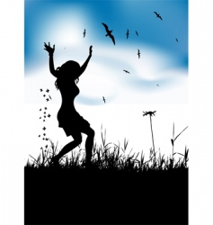 girl dancing in meadow vector image
