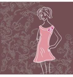 girl sketch floral vector image